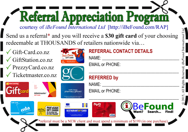 iBeFound Referral Appreciation Program Coupon